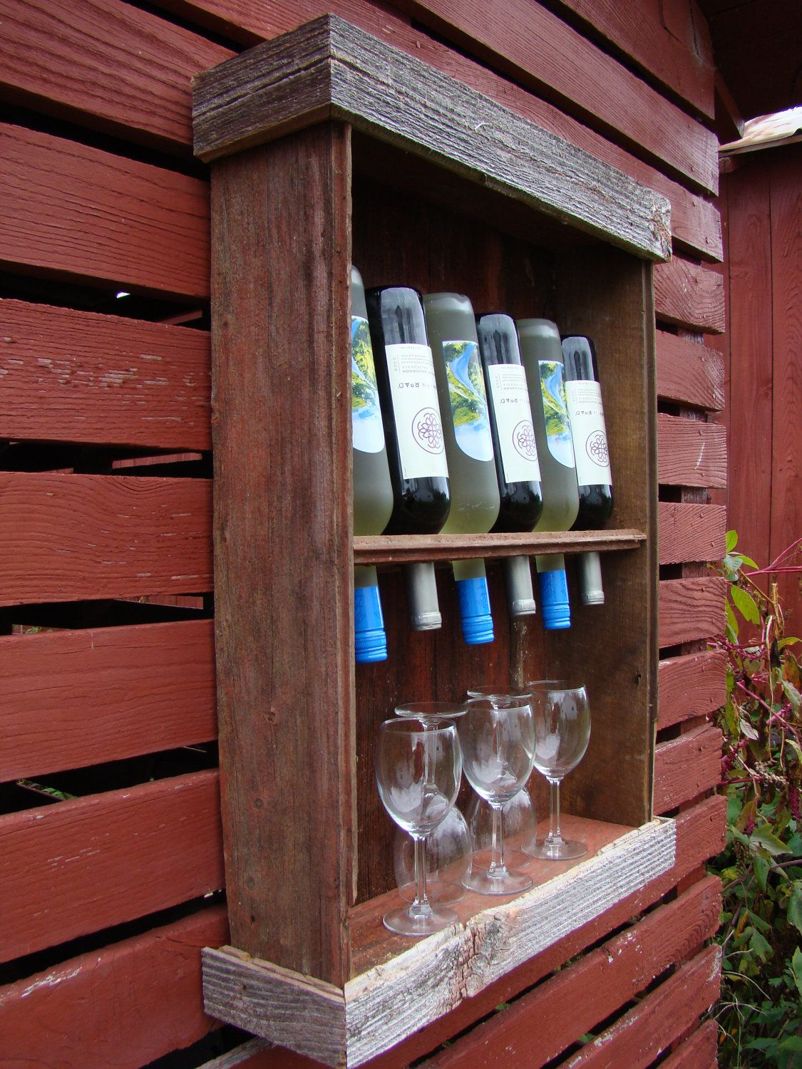 Good Idea For The Outdoor Living Area Barn Wood Wine Cabinet Via Etsy Reclaimed Wood Wine Rack Barn Wood Projects Barn Wood