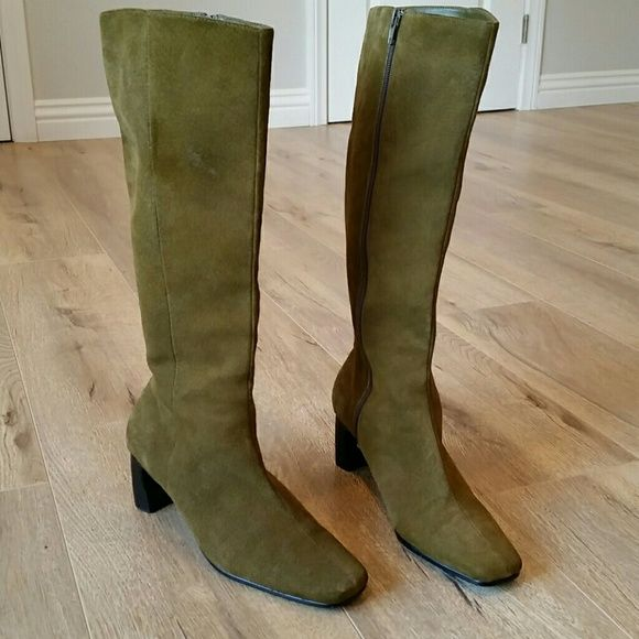 Olive green suede tall contempory boots