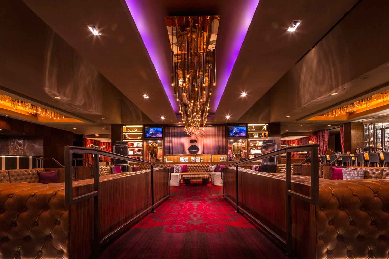 Into the sunken living room at the hard rock hotel palm springs interior design by mister important design