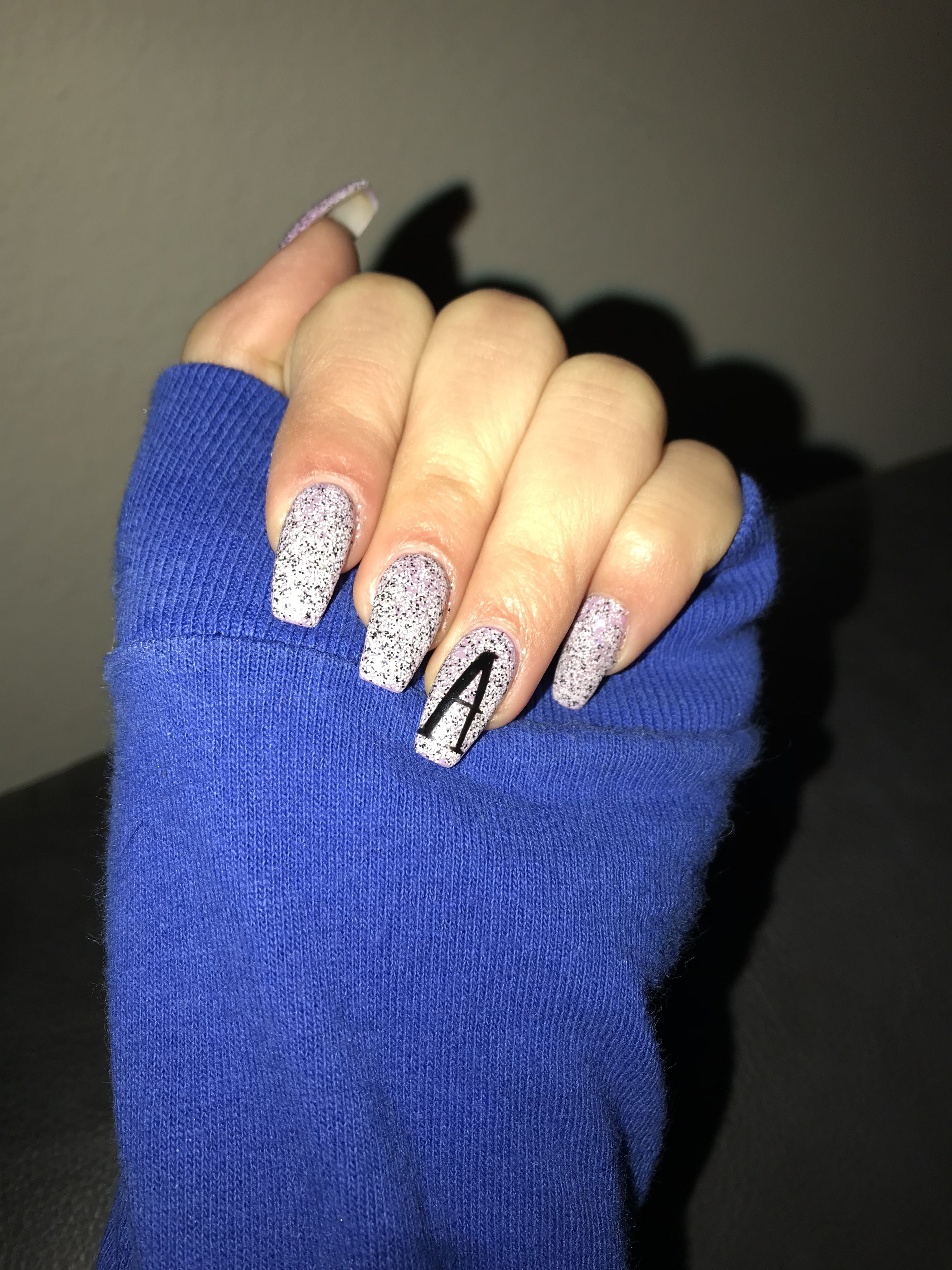 Initial Nails Nails Purple Nails Ombre Acrylic Nails