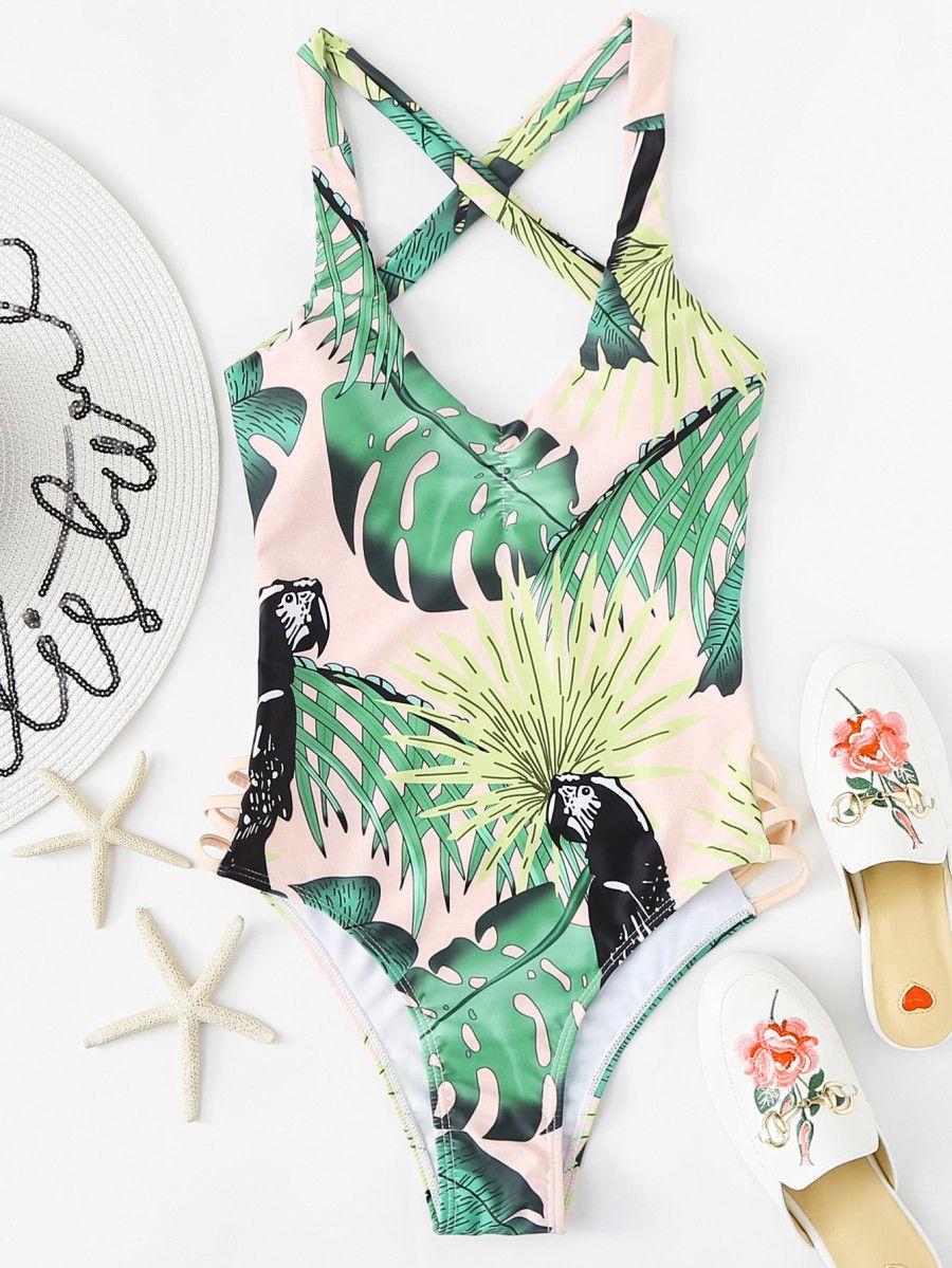6235baf73e Palm Print Cross Back Swimsuit -SheIn(Sheinside)