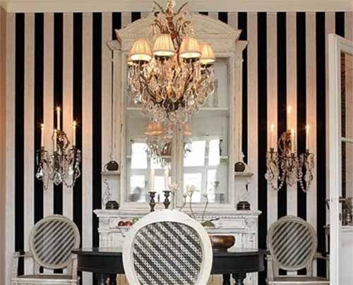 White And Black Wallpaper Modern Interior Decorating Ideas Modern Interior Decor Black And White Wallpaper Stripped Decor