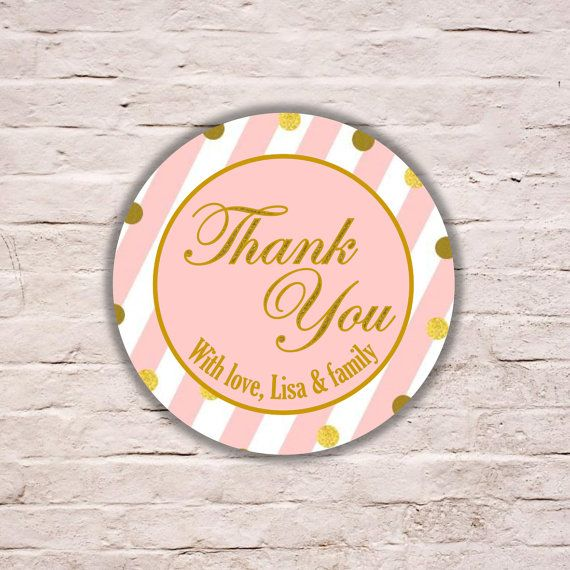 Pink and White Stripes Gift Tag Stickers Wedding by LavenderArte