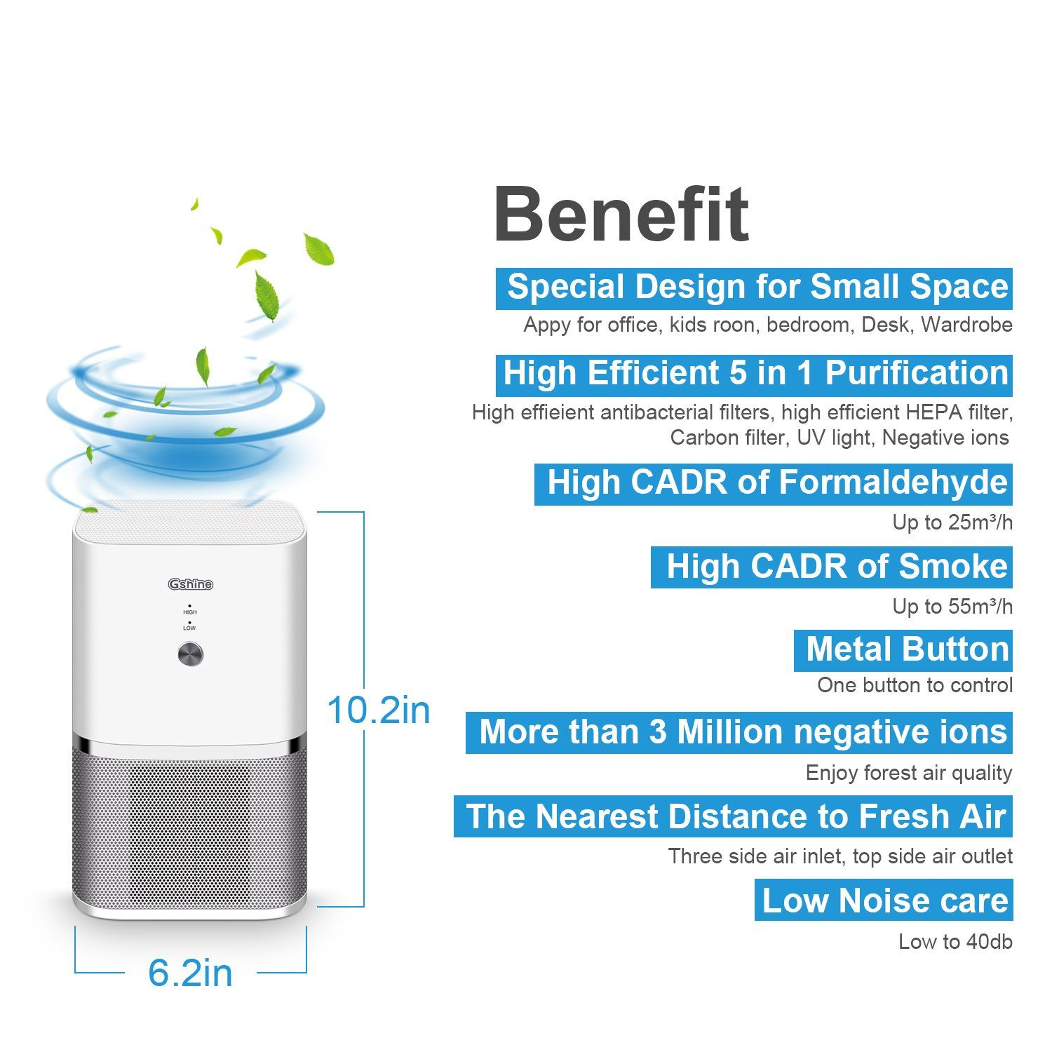 Gshine Air Purifier with HEPA Filter Portable Quiet Mini