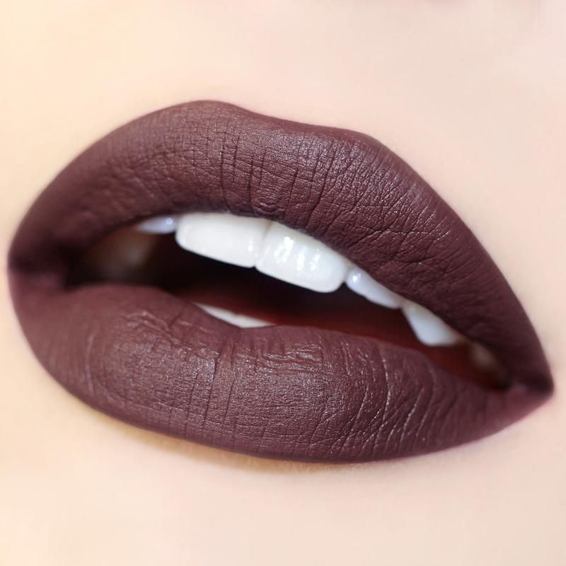 Too Lips deep dark plum brown Ultra Satin Lip swatch
