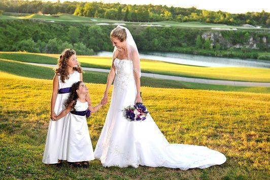 a moment with my flower girls :  wedding dress purple Flowergirls