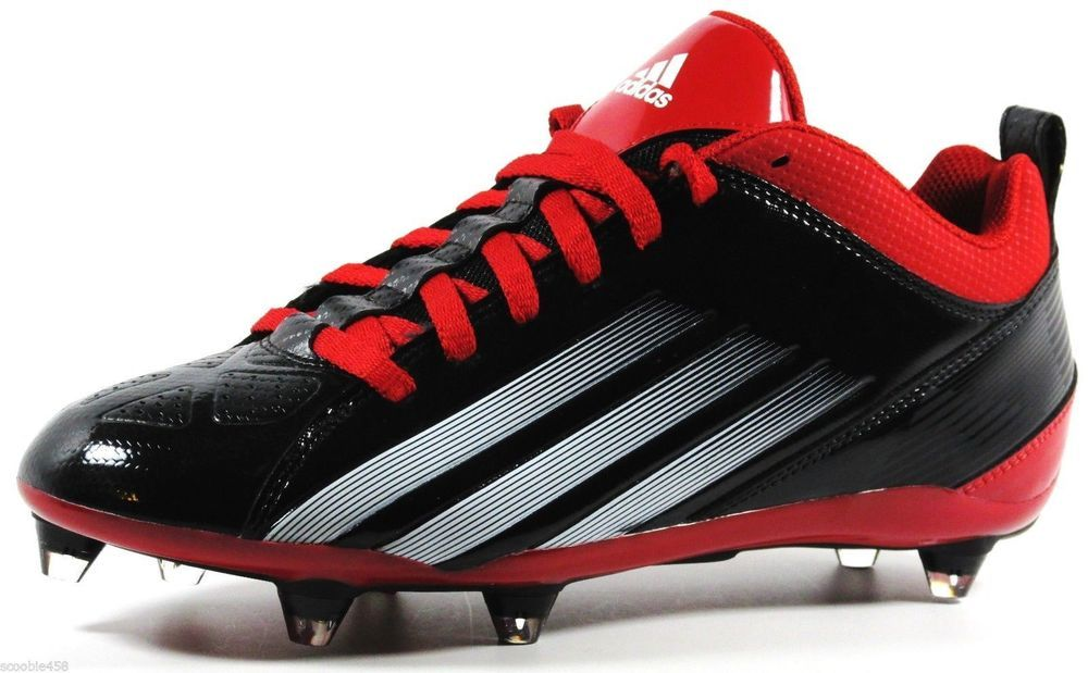 first rate 8a62a d945a New Mens Adidas Lightning D 5 8 Football Lacrosse Cleats Size 9 Red Black   adidas  58MidDetachableFootballLacrosseCleats