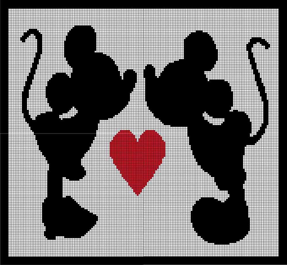 Mickey and Minnie Mouse Crochet Afghan Graph Pattern | Mickey&Minnie ...