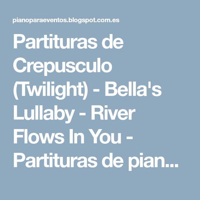 Partituras De Crepusculo (Twilight)