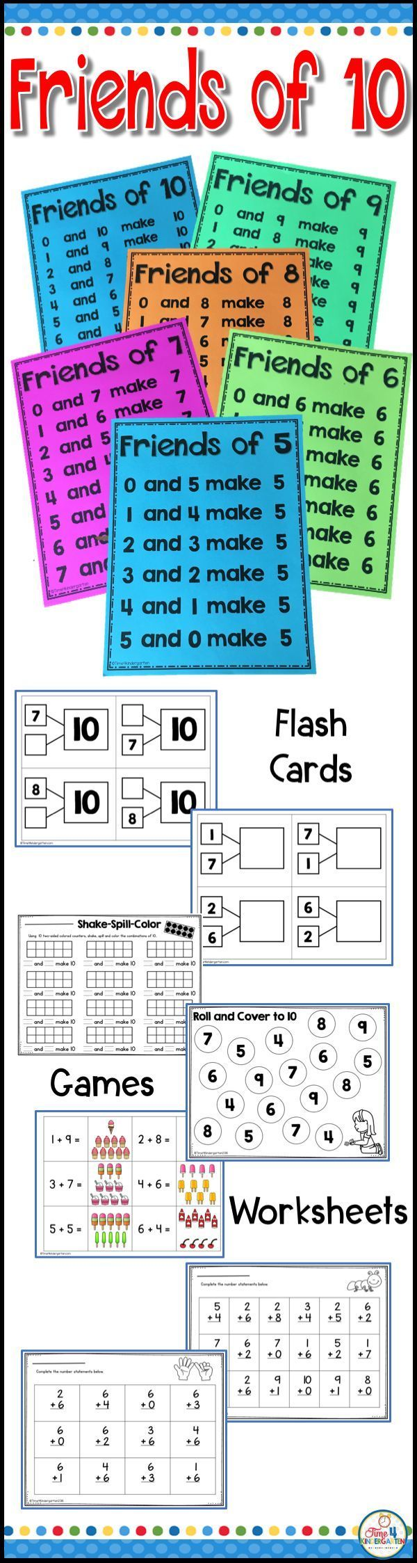 Friends of Ten Math Fact Fluency | Game 20, Math poster and Math facts