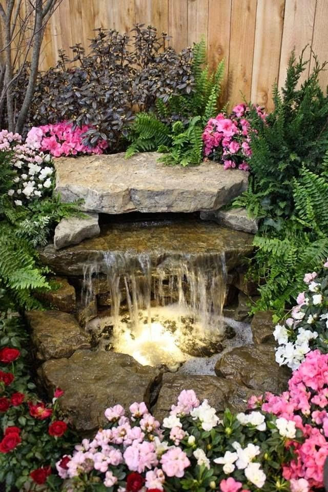 Gardens Small Waterfall With Stone Slabs For The Garden