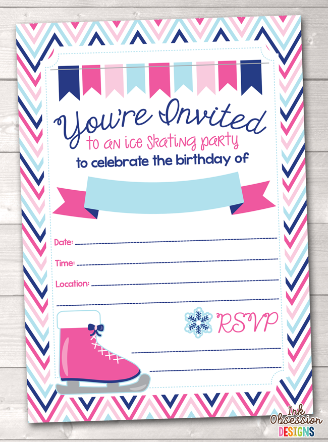 Pink Ice Skating Party Printable Birthday Party Invitation ...