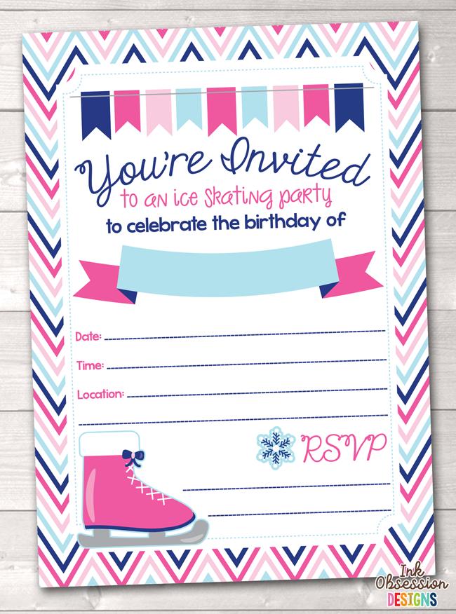pink ice skating party printable