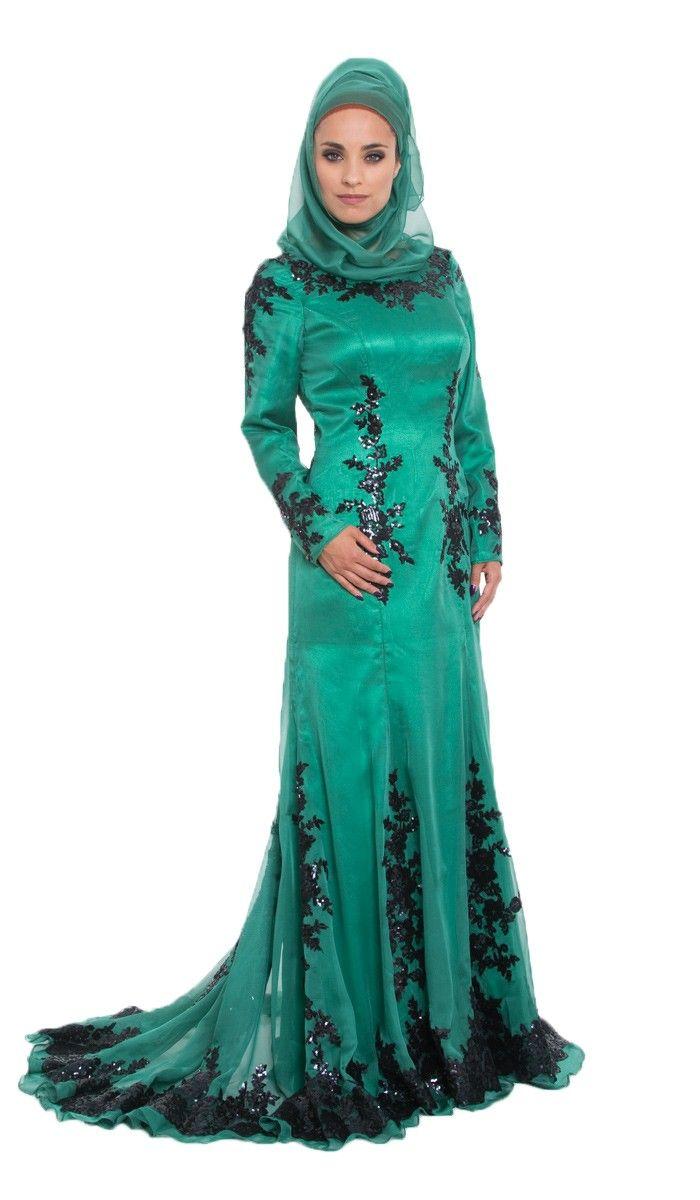 Amira Sequined Silk Emerald Green Islamic Formal Long Dress Kaftans Maxi Dresses And Long Sleeve Muslim Evening Dresses Formal Dresses Long Evening Dresses [ 1200 x 700 Pixel ]