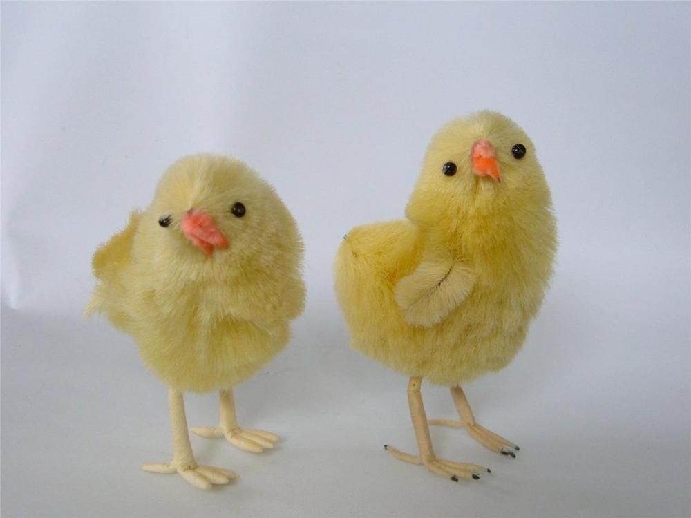 """Vintage Lot 2 Chenille Chick Chicks Easter Spring Yellow Large 4"""" x 3"""" Wire Feet"""