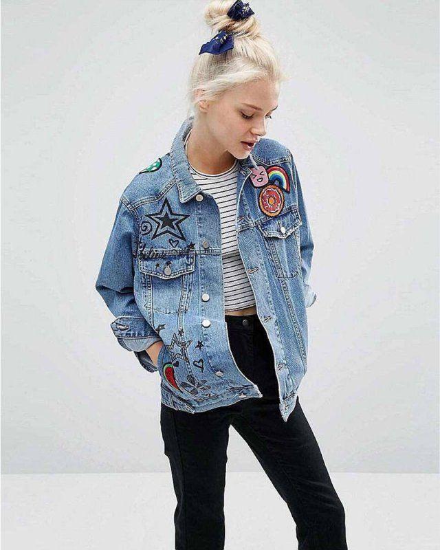 15 id es pour customiser une veste en jean vestes en jean la peinture et vestes. Black Bedroom Furniture Sets. Home Design Ideas