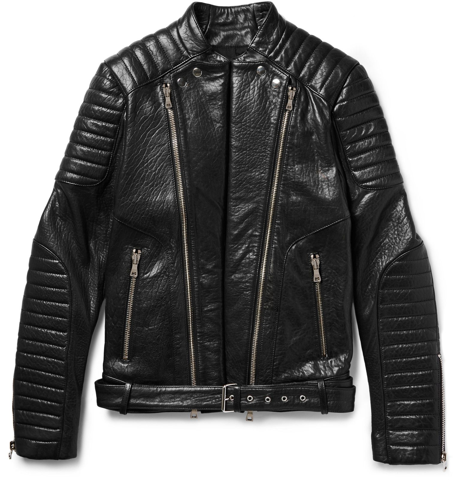 d4c3c374 Balmain — Quilted Grained-Leather Biker Jacket | Menswear ...