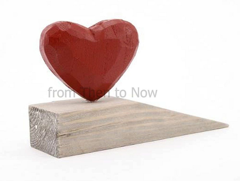Chic Shabby Rustic Natural Wooden Red Heart Door Wedge Stopper Stop ...