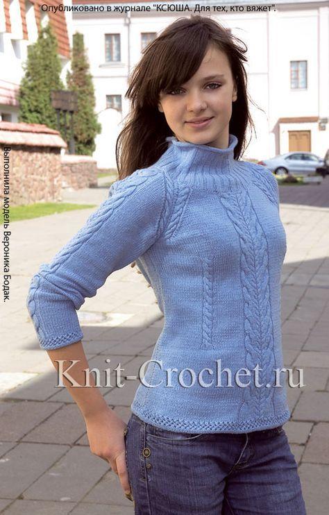 b0c88e16bbe9 Связанный на спицах женский свитер с рукавом реглан размера 44-46 ...