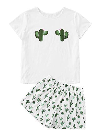 DIDK Womens Round Neck Short Sleeve Print Top and Shorts Pajama Set