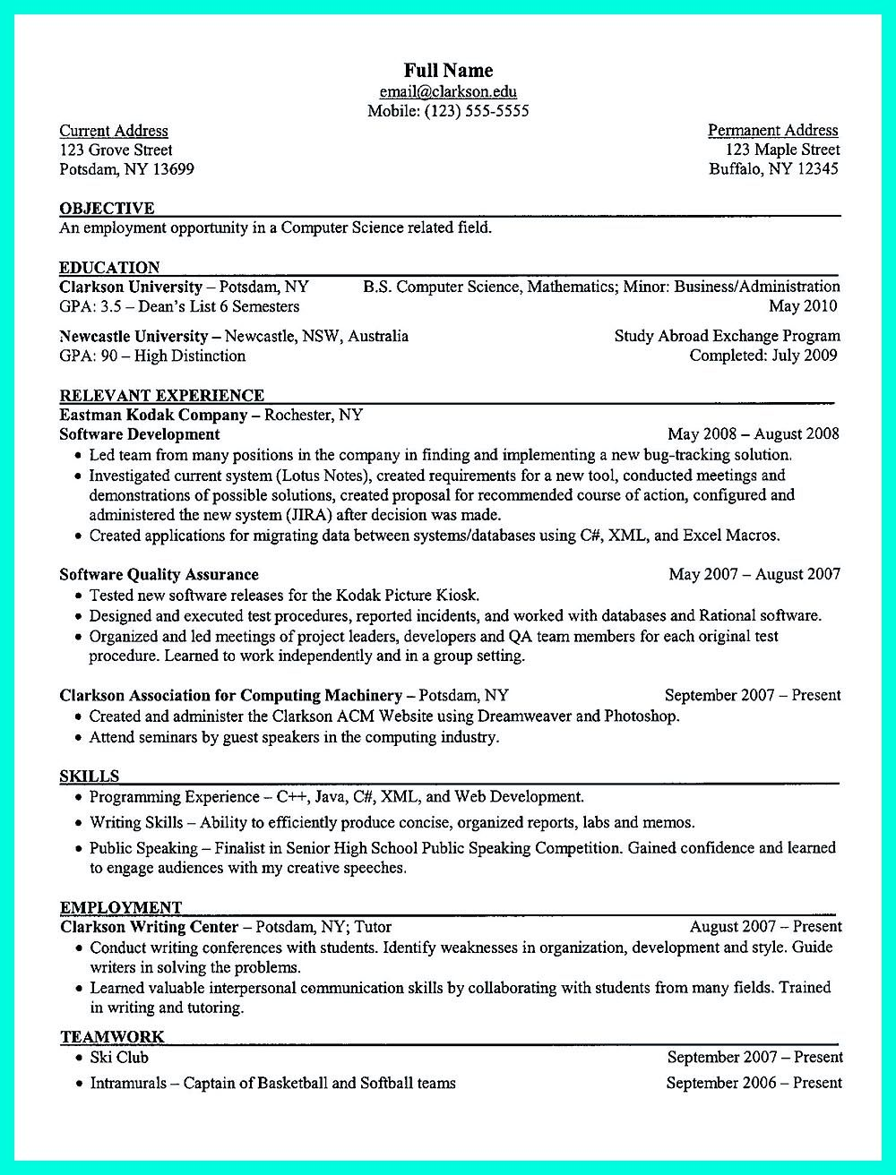 Pin On Resume Sample Template And Format Pinterest Computer Science