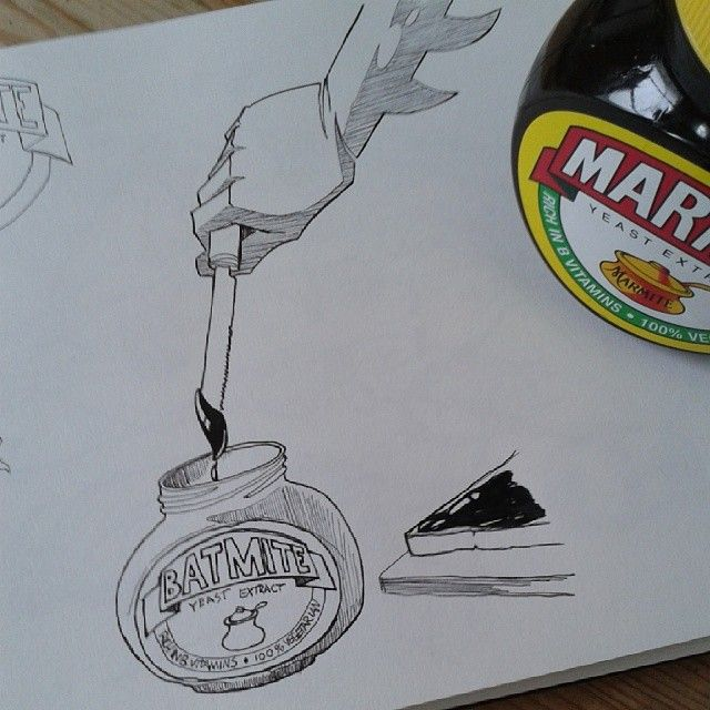 The Batman is having a slice of toast with the infamous Batmite #sketchbook #batman #burgersandbatman #darkknight #marmite http://ift.tt/LoU...