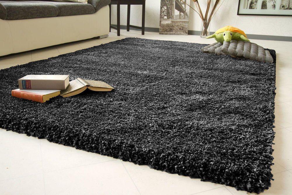 Fluffy Black Plain 5cm Thick Modern Shaggy Rug Non Shed Floor