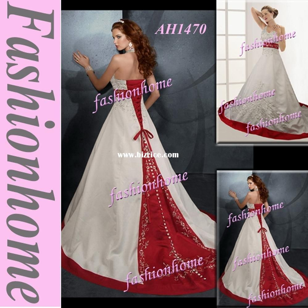 Wedding gown with red accents  red lavender wedding colors  red belt accents the fitted bodice