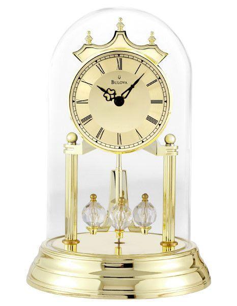 Bulova Tristan Polished Br Tone Anniversary Clock Rotating Pendulum