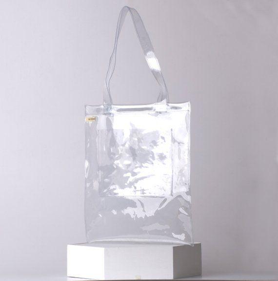 Clear tote bag PVC pocket waterproof totebag shopper bag vegan cute shopper  clear vinyl. Custom PVC bags ... 01e2618a8e725
