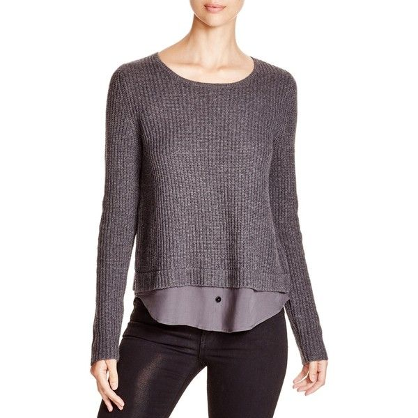 Joie Frene Wool-Cashmere Layer Sweater ($348) ❤ liked on Polyvore featuring tops, sweaters, dark heather grey, wool pullover, button shirts, long sleeve shirts, button sweater and long sleeve pullover