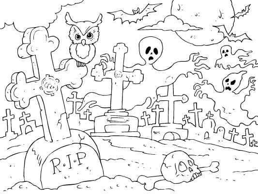 A ghostly graveyard coloring page. Spooky fun for Halloween. Color it in to make it BOO-tiful. See more Halloween coloring pages at http://www.coloringpages4u.com/halloween_coloringpages