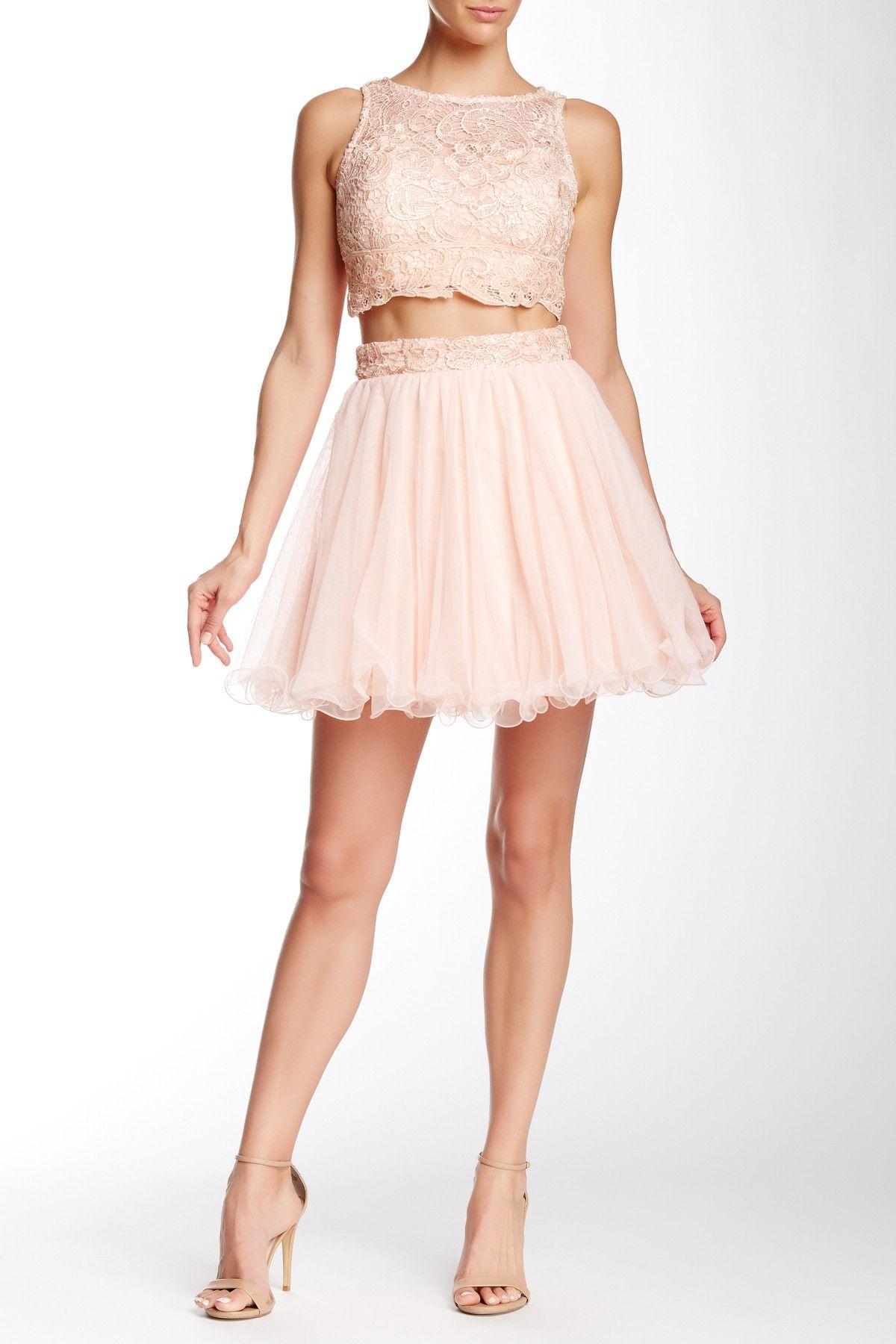 Lace Yoke Overlay Tulle 2 Piece Set Juniors Fashion Pink Prom Dress Dresses [ 1800 x 1200 Pixel ]