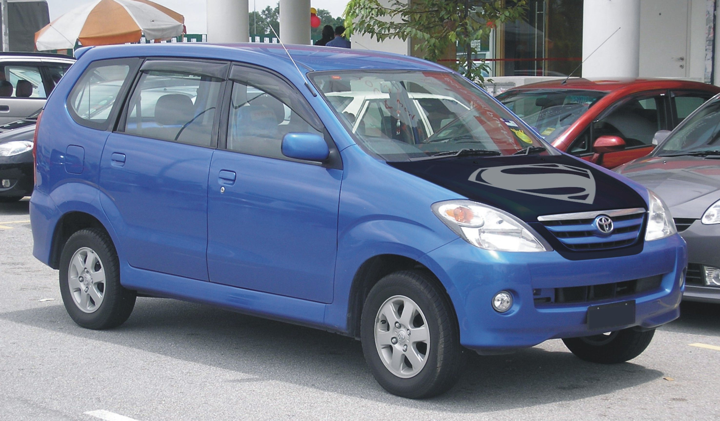 Blue car sticker design - Toyota Avanza Blue Black Mate Front Hood Grill Wrapping Superman Logo Sticker Concept