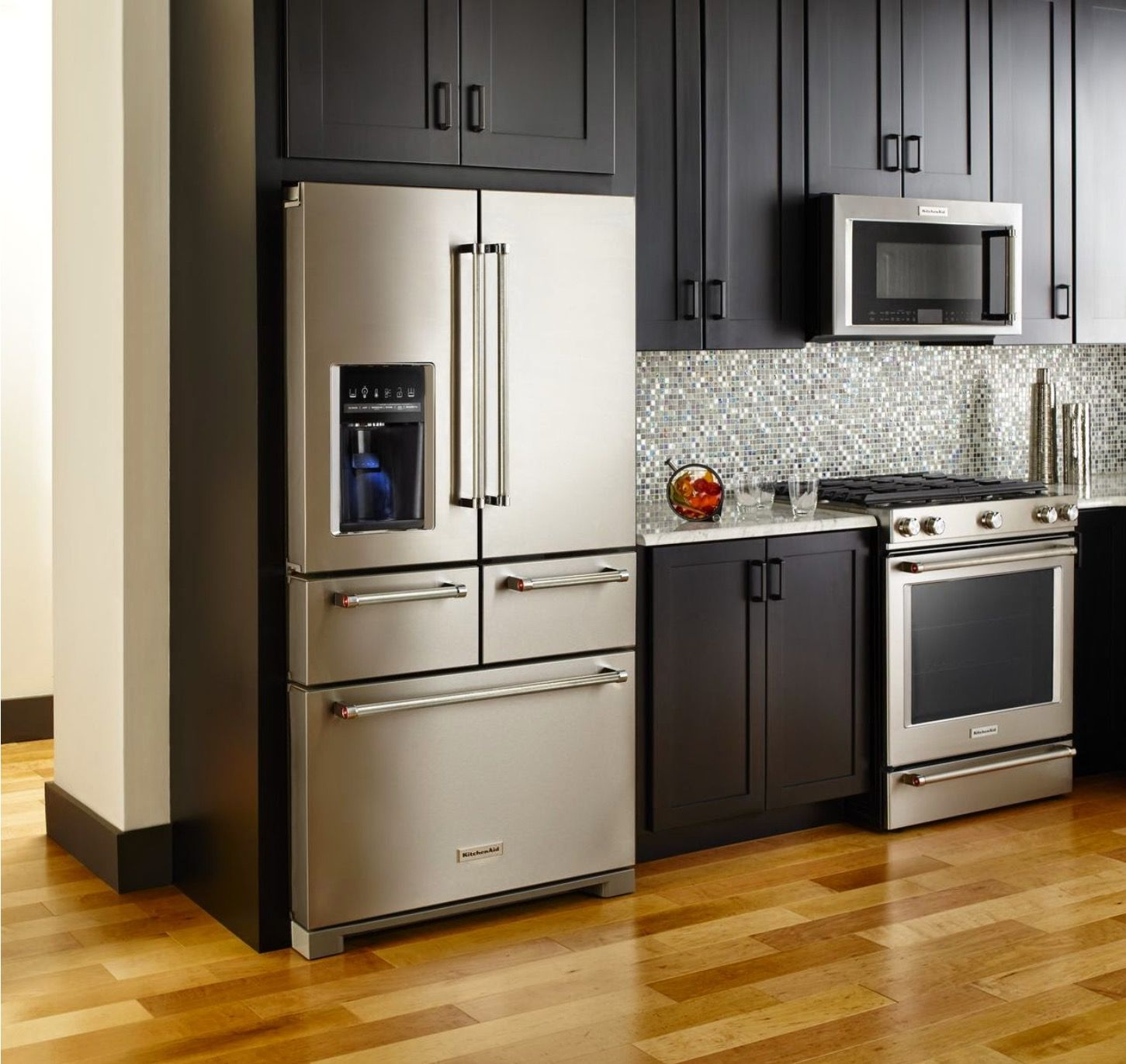 2015 Kitchenaid 26 2 Cu Ft 36 Inch Width 5 Door Standard Depth French Door Refrigera Cocinas De Casa Cocinas Para Espacios Pequenos Diseno De Cocina Moderna