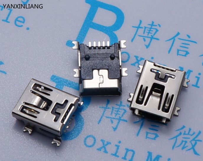 100pcs Mini USB connector SMD USB Data interface 5PIN 5 needle mini usb socket