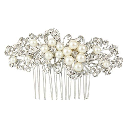 EVER FAITH® Crystal Wedding Flower Ivory Color Simulated Pearl Hair Comb Silver-Tone IUKHN