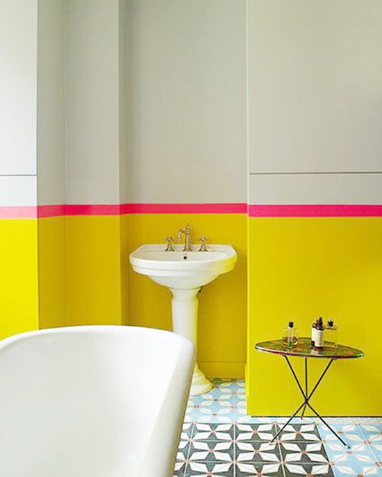 Interior Obsessions: 7 Ways to Steal My Sunshine | Interiors, Bath on pink bathroom storage, pink and yellow wedding backdrops, pink and yellow photography, pink and yellow duvet, pink and yellow landscaping, pink girls bathroom, pink and yellow porch, pink and yellow decoration, pink and yellow indoors, pink and yellow mood board, pink and yellow spa, pink bedroom ideas for small rooms, pink and yellow towels, pink and yellow classroom, pink and yellow bus, pink bathroom painting, pink and yellow design, pink and yellow house, pink and yellow stationery, pink bathroom ideas,