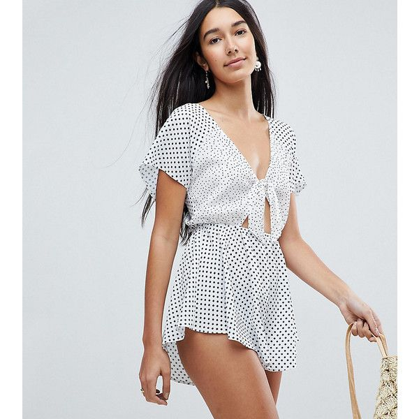 0c250f358f4a ASOS TALL Mixed Spot Bunny Tie Detail Beach Playsuit ( 44) ❤ liked on  Polyvore featuring jumpsuits