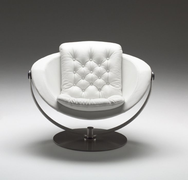High Design Furniture: The Moon Swivel Lounge Chair, Here In White Leather