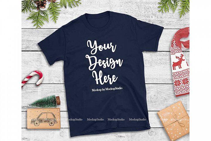 Download Navy Christmas Tshirt Mockup Holiday Unisex Tee Flat Lay 158996 Clothing Design Bundles Design Mockup Free Tshirt Mockup Mockup