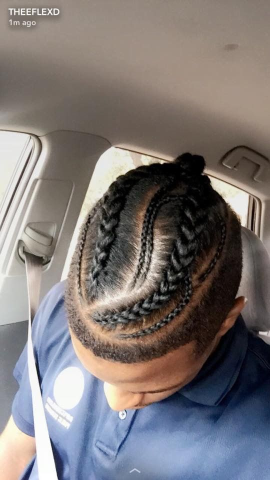 Man Bun Braids Blessedhands Braids Houstonbraider Houston Braidsformen Men Menshair Hai Mens Braids Hairstyles Braided Man Bun Braided Bun Hairstyles