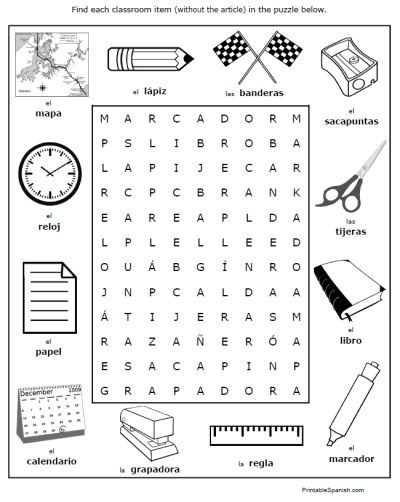 Classroom Objects In Spanish Worksheet Free Worksheets ...