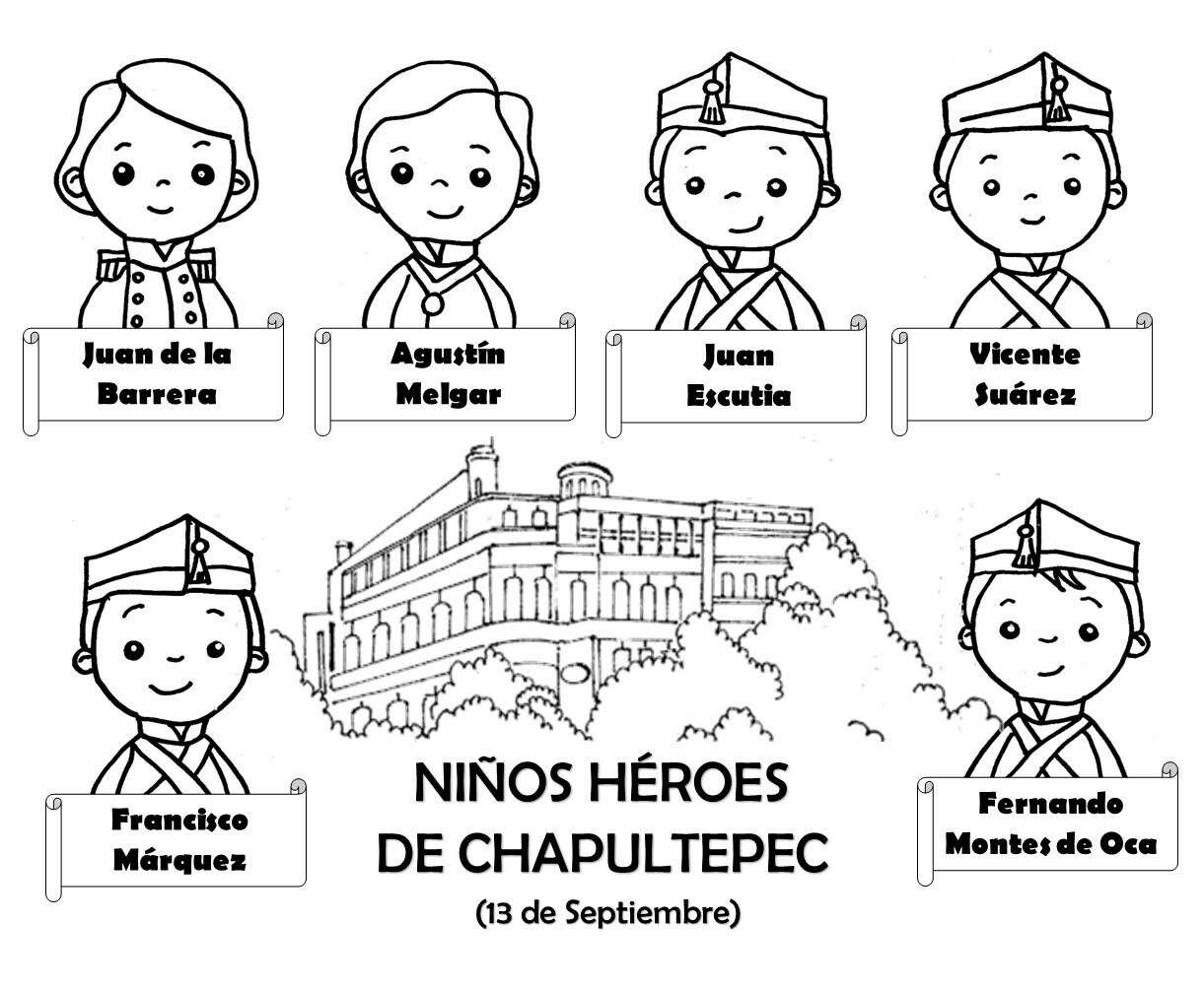 Niños heroés de Chapultepec para colorear | Dibujos blanco y negro ...