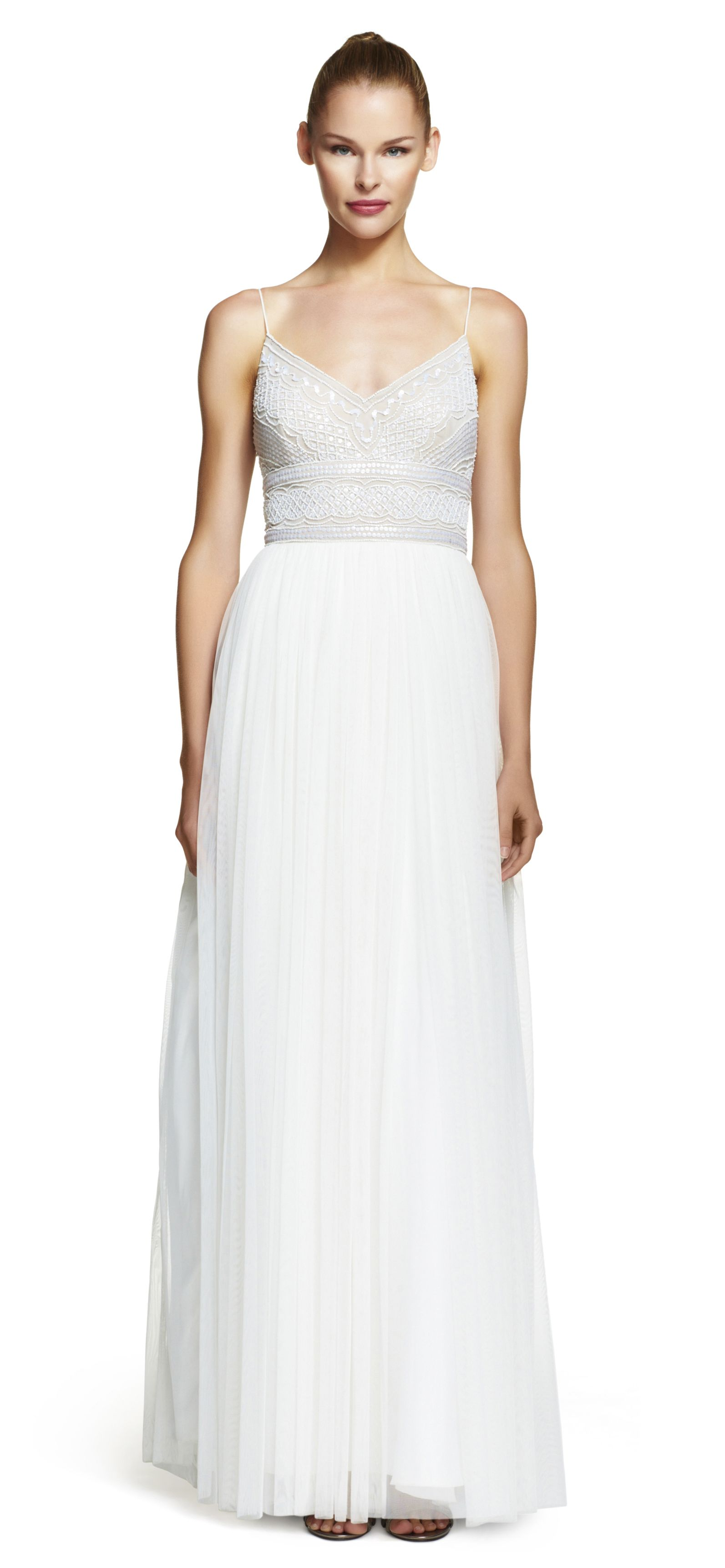 Sleeveless Beaded Tulle Gown | Tulle gown, Adrianna papell and Tulle ...