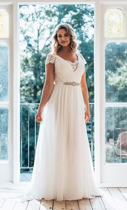 2021 Cheap Chiffon A Line Floor Length V Neck Capped Sleeves Lace Beach Plus Size Wedding Dresses – Ivory / US6