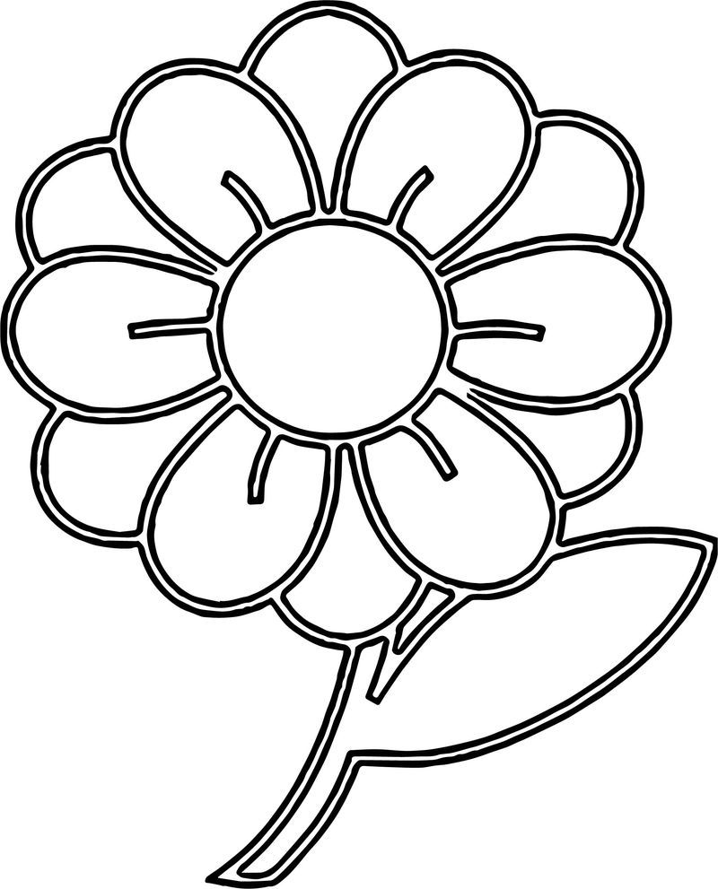 Clipart Flower With Stem Illustration Of A Flower With Coloring Page Printable Flower Coloring Pages Flower Coloring Pages Paper Flower Template