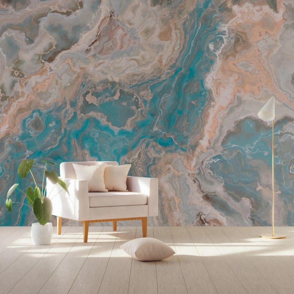 Turquoise Brown Wave Brush Wallpaper Mural Waves
