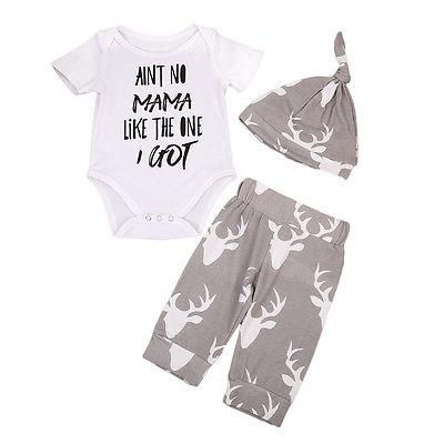 78a8408b6 Newborn Baby Boy Girls Tops Letter Printed Romper+Deer Pants Hat ...