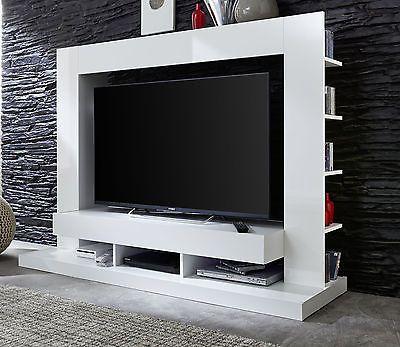 Details zu TV Fernseh Schrank Mediawand weiss Glanz Medienwand - Schrank Für Wohnzimmer